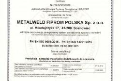 Certyfikat ISO 9001 i 14001 do 11.08.2022