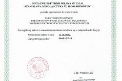 Uprawnienia UDT do produkcji materiałów spawalniczych